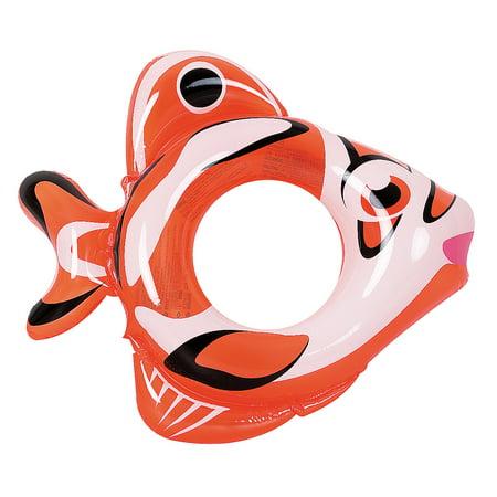 RhinoMaster Play Adventurous Fish Inflatable Pool Tube - Novelty Orange Swim Ring for Kids