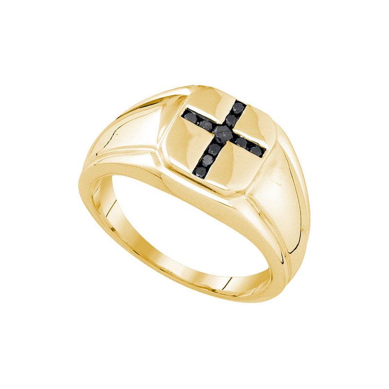 925 Rhodium-Plated-Silver 0.25ctw Shiny Channel Diamond Fashion Mens Cross Ring
