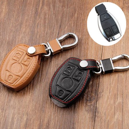 PU Leather Smart Key Cover Case Holder For Mercedes B- enz Remote 3 4  Button C E