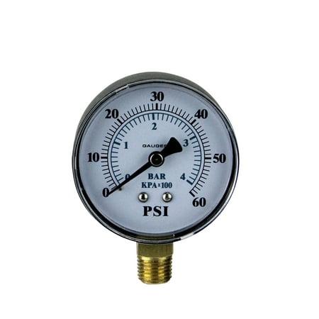 Pool Central Side Mount Plastic Cover Pressure Gauge 0-60 PSI 3.25