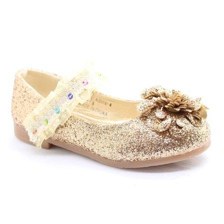 Little Girls Gold Glitter Lace Sequin Trim Flower Dress - Gold Sequin Shoes