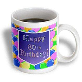 3dRose Balloons with Purple Banner Happy 80th Birthday, Ceramic Mug, 11-ounce