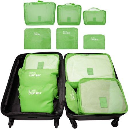 Miami CarryOn Set of 6 Packing Cubes, Travel Luggage Organizer (Green)