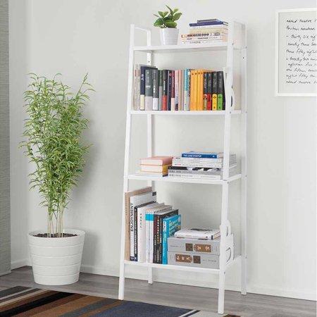Zimtown 4 Tier Metal Ladder Shelf Bookshelf Bookcase Leaning Storage ...