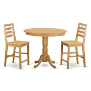 East West Furniture TRCF3-OAK-C Dining Counter Height Table & 2 Kitchen Bar Stool, Oak