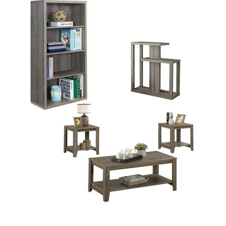 5 Piece Living Room Set with Coffee Table Set and Bookcase in Dark Taupe