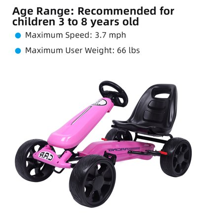 Go Kart for Kids Gift, 4 Wheel Ride On Toys for 3-8 Year Old Boys & Girls, Racer Bicycle with Ergonomic Adjustable Seat, Sports Steering, Brake, Outdoor Racing Toy, Pedal Cart for Child, Pink,
