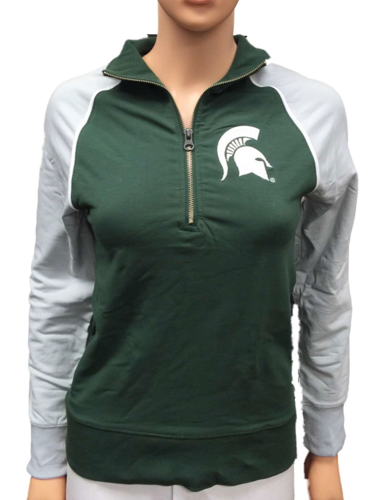 Michigan State Spartans GG Women Green Fitted 1 4 Zip Pullover Jacket (M) by