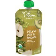 Plum Organics Stage 2 Organic Baby Food, Pea, Kiwi, Pear & Avocado, 3.5 Ounce Pouch