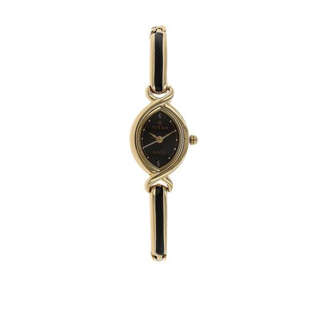 Titan Raga Gold Metal Jewellery Bangle Design, Bracelet Clasp, Quartz Glass, Water Resistant Analog Wrist Watch ()
