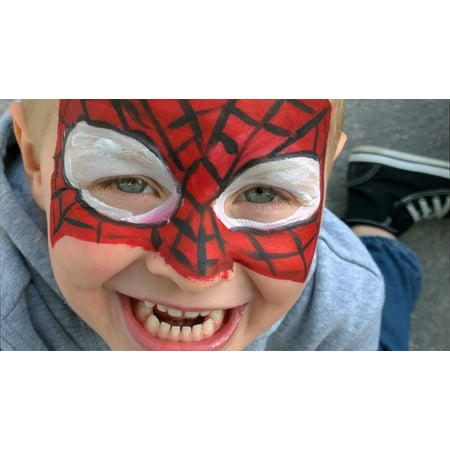 Canvas Print Face Spider Man Child Childhood Make Up Body Art Stretched Canvas 10 x 14