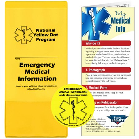 StoreSMART Yellow Dot Standard Pockets with Stickers for Medical Information and Emergency Contacts, Pack of 5](Medical Stickers)