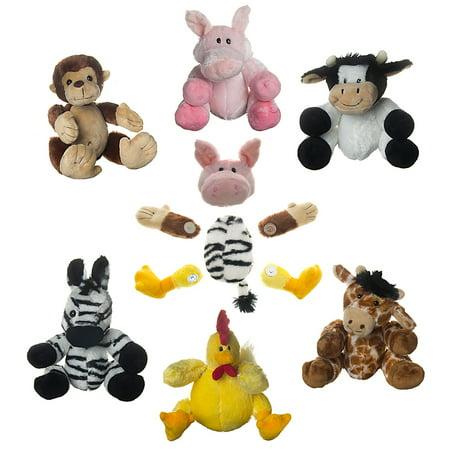 Set Of 6 Cute Swapets Plush Stuffed Animals Toys Magnetic Parts Barnyard Safari Series For Kids