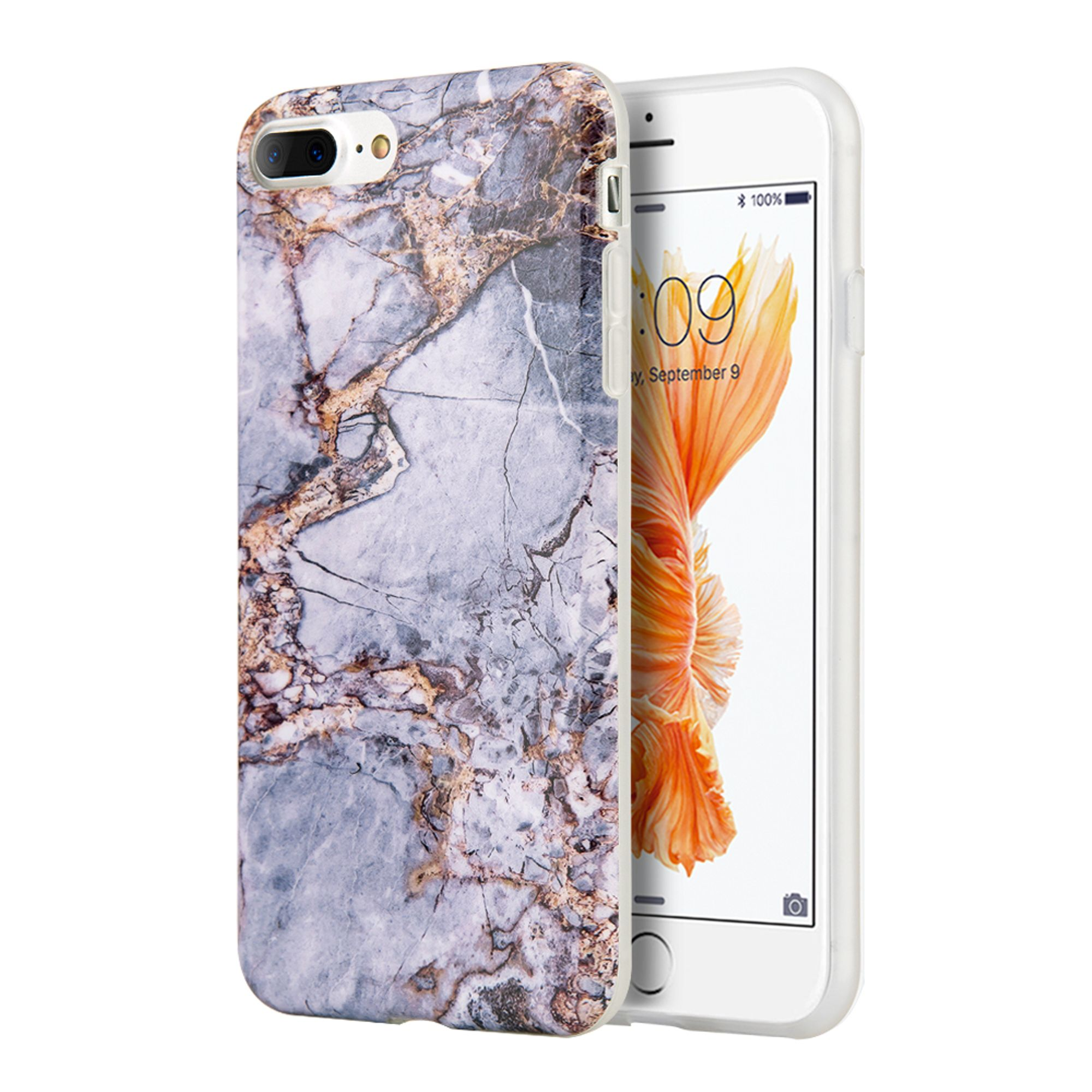 Insten Marble TPU Cover Case for Apple iPhone 8 Plus / iPhone 7 Plus - Gray/Gold