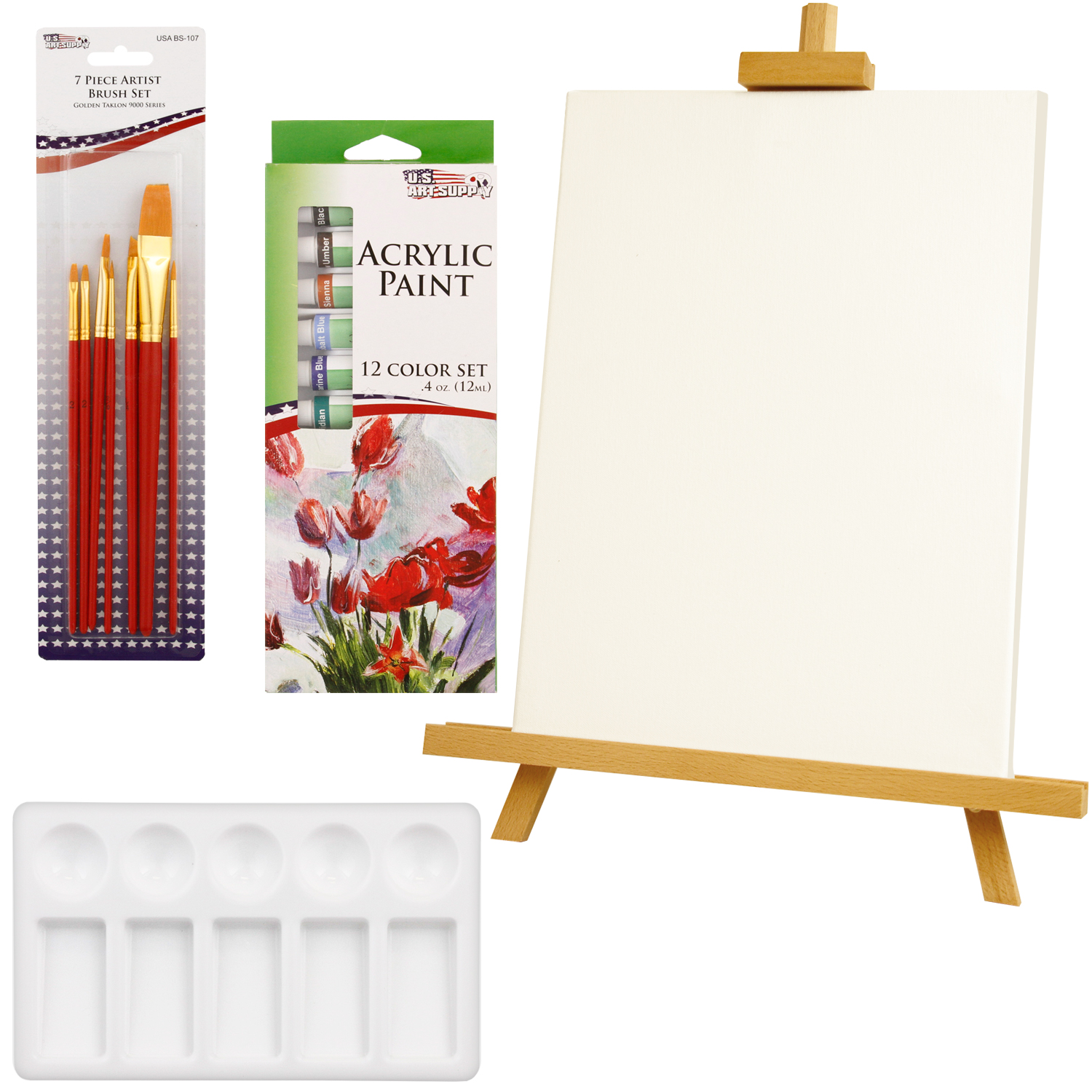 US Art Supply 21-Piece Acrylic Painting Set with Table Easel, Canvas, 12 Colors