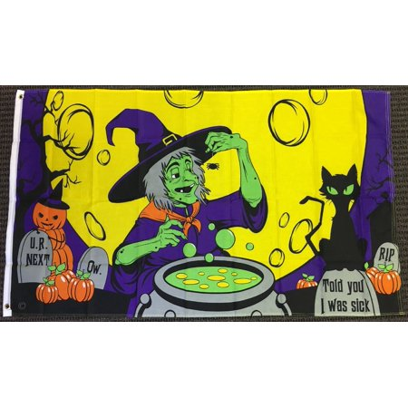 3x5 Witches Cauldron Brew Halloween Flag Black Cat Full Moon Spooky Banner (Halloween Witches Brew Labels)