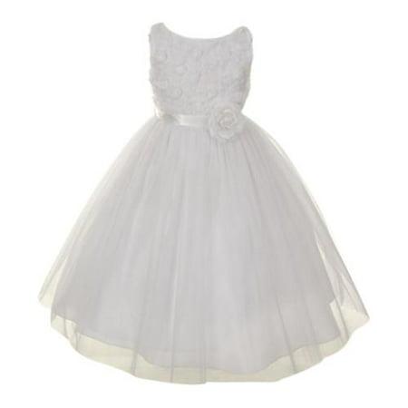 edd486eb730 My Best Kids - Big Girls White Chiffon Rosebud Applique Bodice Tulle Flower  Girl Dress 8 - Walmart.com