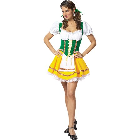 Morris Costumes 'Beautiful Fraulein' Multi-colored attached petticoat dress Beer Garden Girl Large, Style CS304LG - Beer Garden Girl