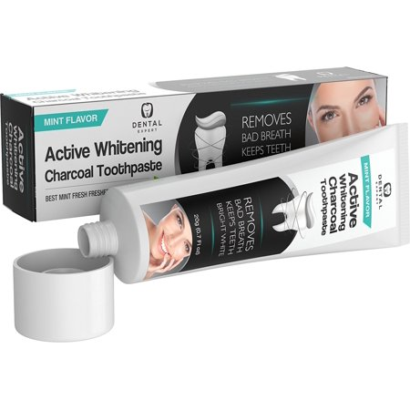 Dental Expert Activated Charcoal Teeth Whitening Toothpaste DESTROYS BAD BREATH - Best Natural Black Tooth Paste Kit - Herbal Decay Treatment - 105g (Mint Flavor) (Best Natural Toothpaste)