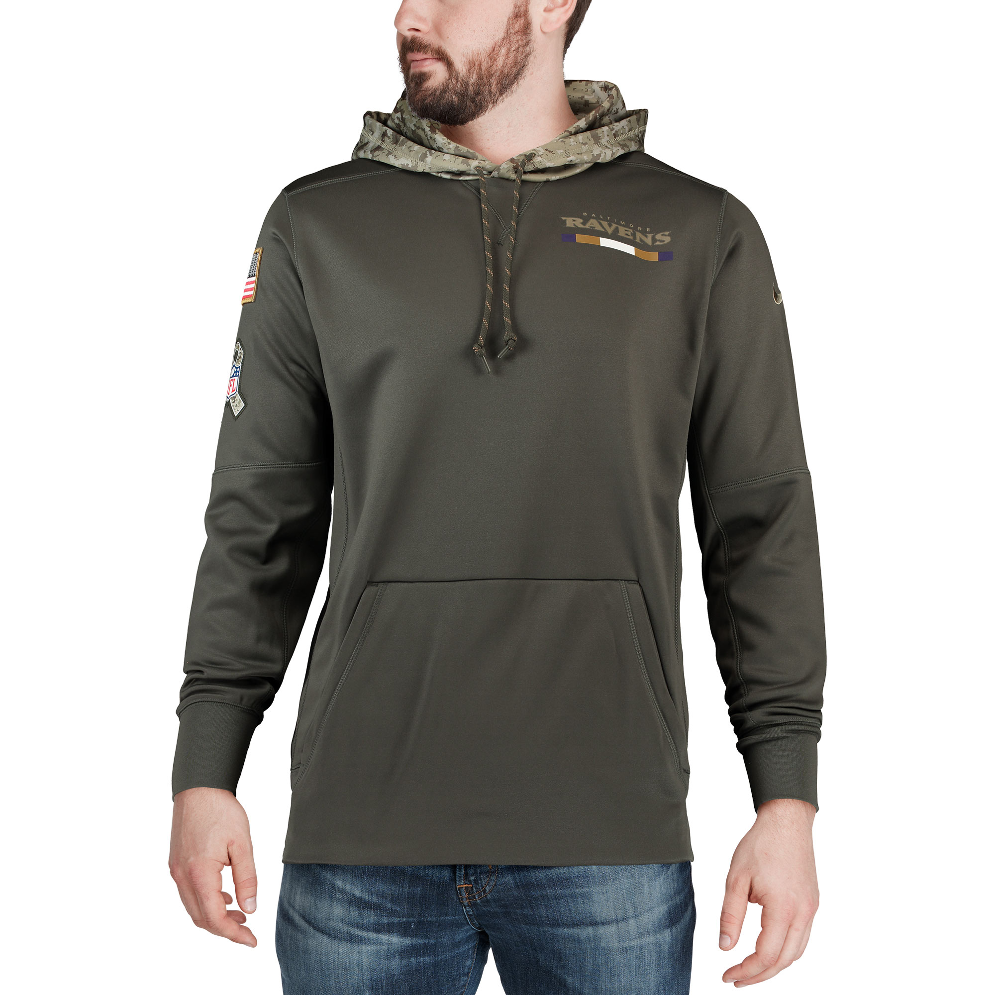 cdefd656 Baltimore Ravens Nike Salute to Service Sideline Therma Pullover Hoodie -  Olive - Walmart.com