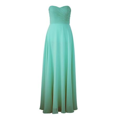 Faship Womens Elegant Strapless Pleated Sweetheart Neckline Long Formal Dress Aqua -