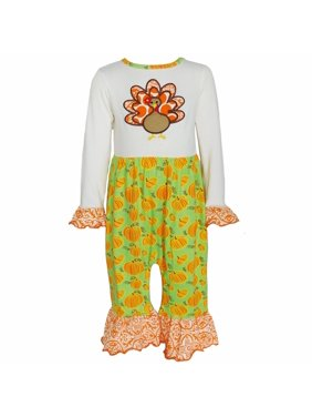 9ca361f51c0 Product Image AnnLoren Baby Girl Thanksgiving Turkey and Pumpkin Romper  Outfit