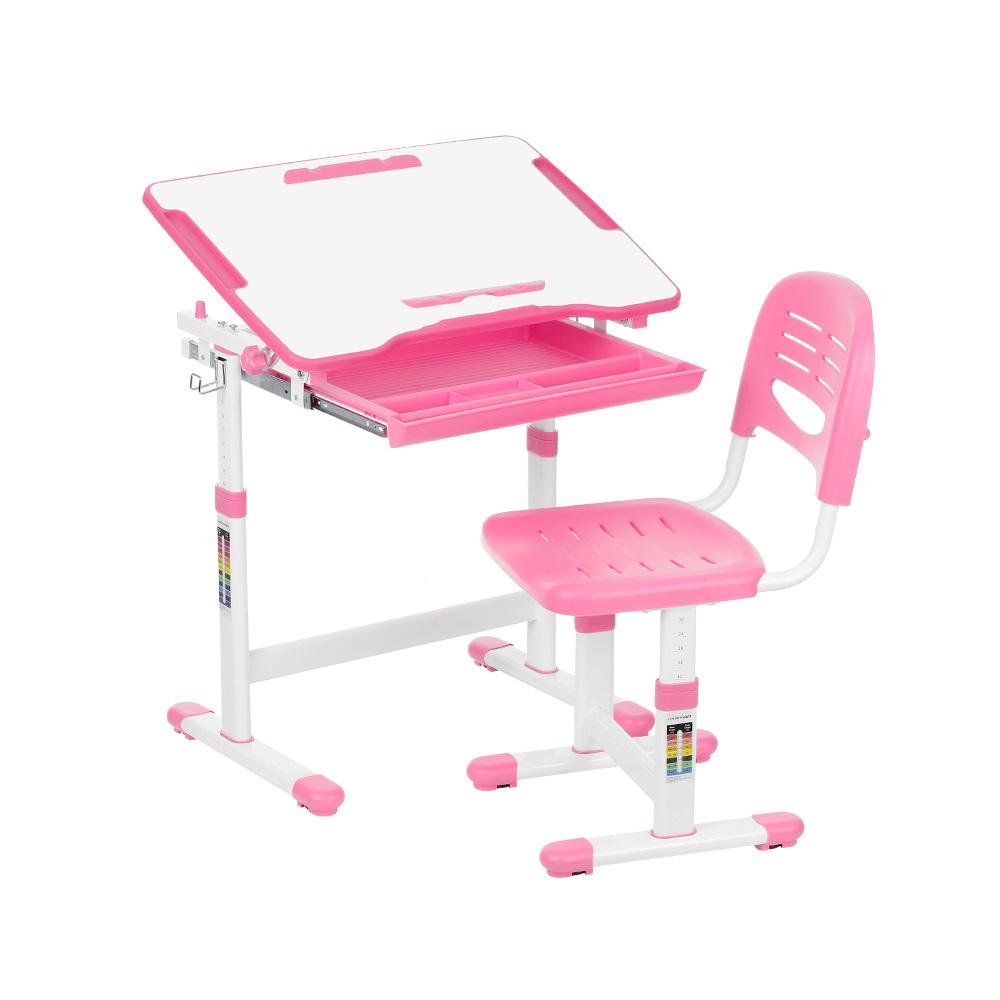 iKayaa Height Adjustable Kid's Study Desk and Chair Set w...