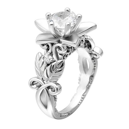 Ginger Lyne Collection Darlene Lily Flower Style 4.5mm Cubic Zirconia Engagement Wedding Bridal Ring Size 9 ()