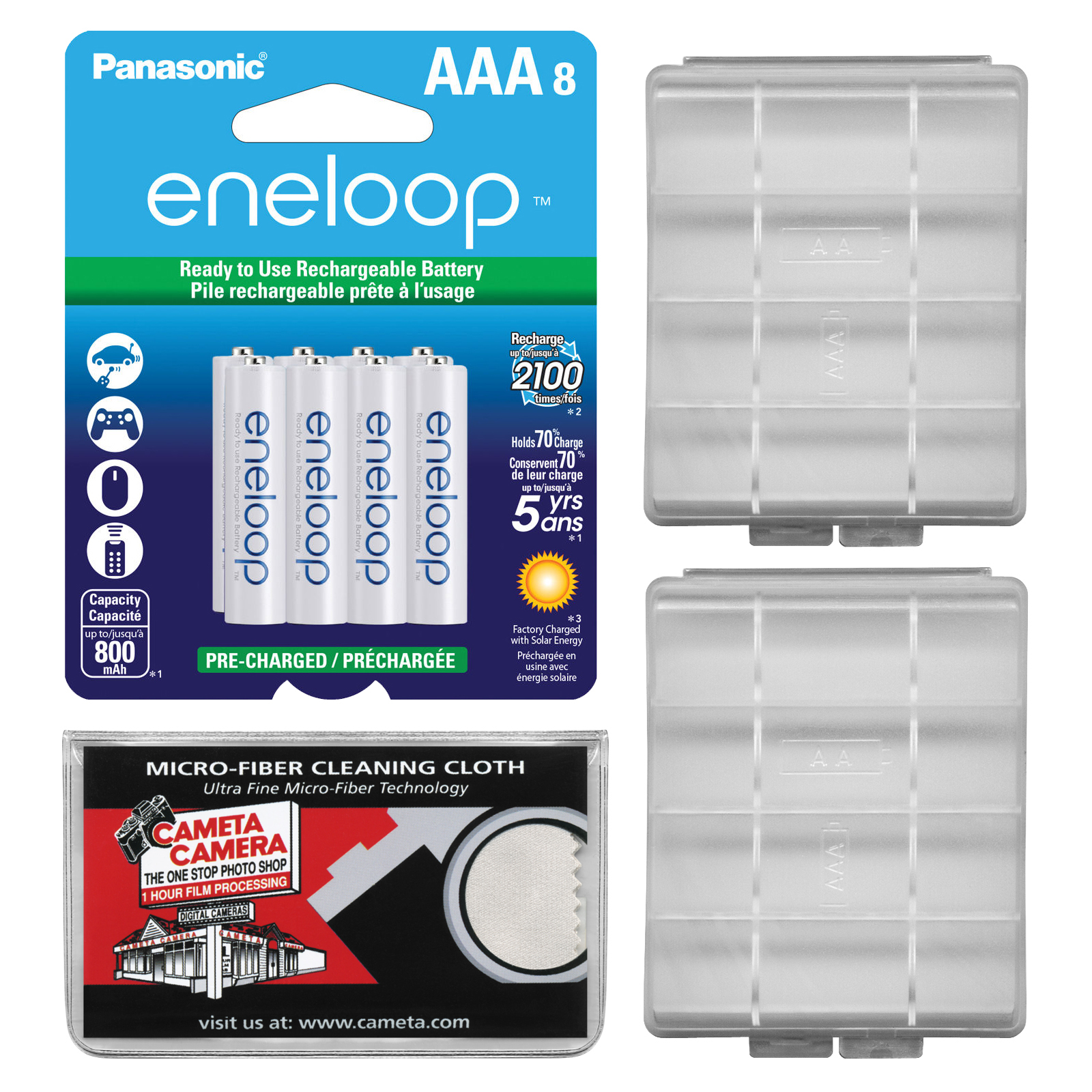 Panasonic eneloop (8) AAA 800mAh Pre-Charged NiMH Rechargeable Batteries with (2) AAA Battery Cases + Microfiber Cleaning Cloth