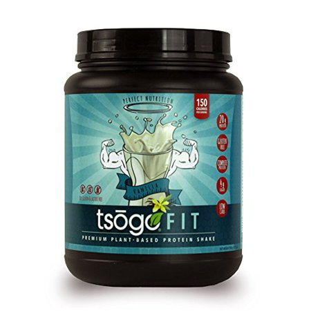 Sox Fiber - Tsogo Fit Protein Powder w/ 20 Grams of Plant Based Protein/Serving, Smooth Vanilla Flavor, Soy, Gluten and Dairy Free, High Fiber, Low Carb, 150 Calories/Serving (1 Tub, 20 Servings, 27.5oz | 780g)