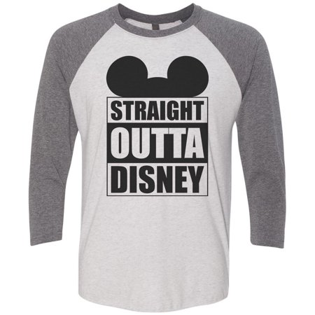 "Mens Or Womens Disney Baseball Tee - ""Straight Outta Disney"" Mickey Mouse 3/4 Sleeve Raglan X-Large, White/Gray"