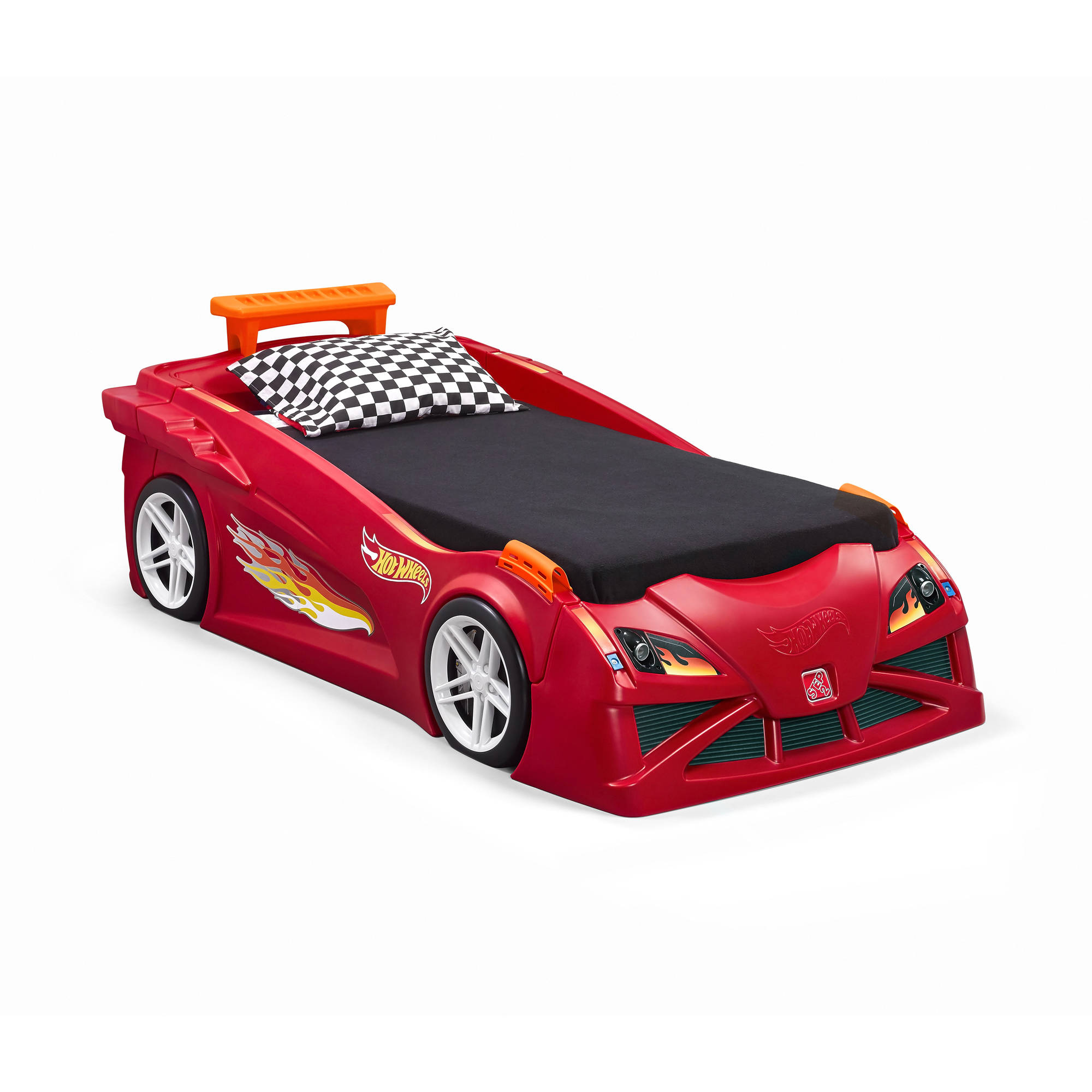 step2 hot wheels toddler to twin race car bed red - walmart