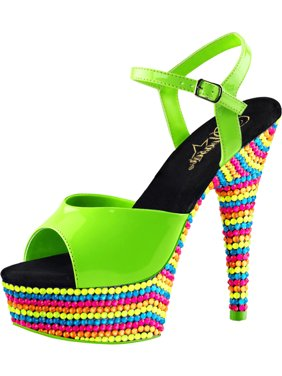 d798539fa Product Image Womens Sandals with Heels Neon Green Shoes Blacklight  Platforms 6 Inch Heels
