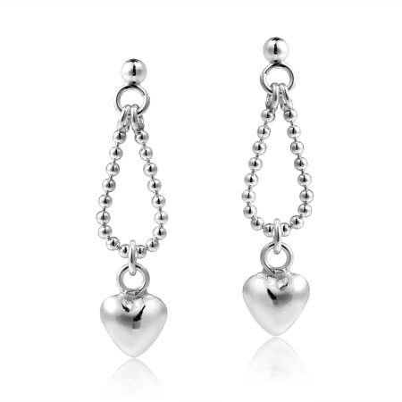 - Handcrafted Heart Charm Bead Chain Loop .925 Sterling Silver Stud Earrings