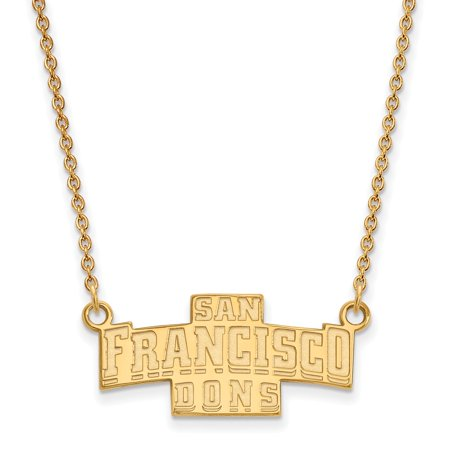 Solid 925 Sterling Silver with Gold-Toned U of San Francisco Small Pendant with Necklace