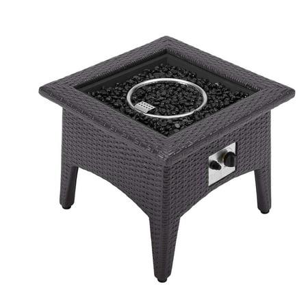 Modern Contemporary Urban Design Outdoor Patio Balcony Garden Furniture Lounge Coffee Table, Rattan Wicker, Dark Grey Gray ()