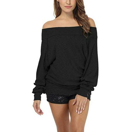 Women's Dolman Sleeve Off The Shoulder Sweater Shirt Tops Dolman Sleeve Cotton