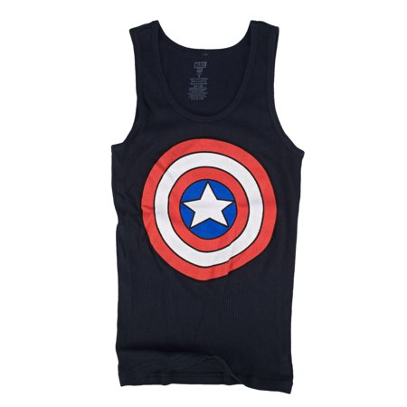Marvel Captain America Shield Logo Juniors Navy Blue Tank Top Shirt | XL