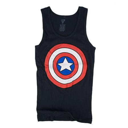 Marvel Captain America Shield Logo Juniors Navy Blue Tank Top Shirt | L