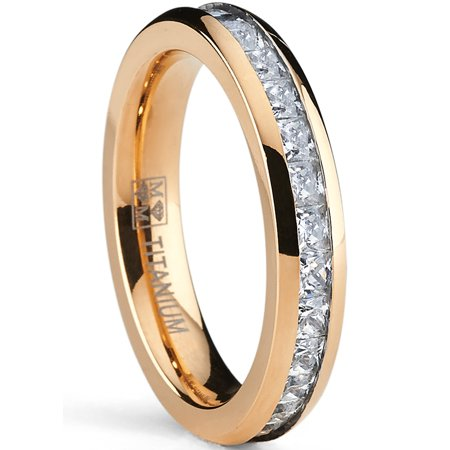 4MM Rose Plated Princess Cut Women's Eternity Titanium Ring Wedding Band with (Rose Titanium)
