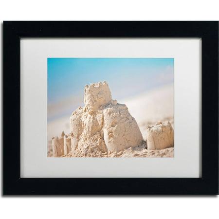 "Trademark Fine Art ""Sand Castle 1"" Canvas Art by Yale Gurney, White Matte, Black Frame"
