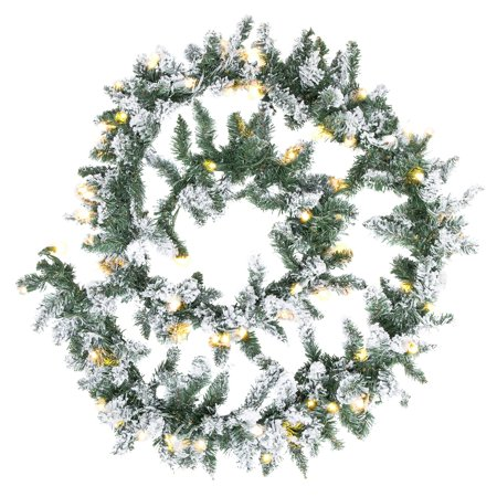Best Choice Products 9ft Pre-Lit Snow Flocked Festive Artificial Christmas Garland Holiday Decoration w/ 100 Clear LED Lights - Green (Green Decorations)