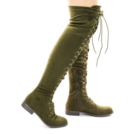 9254dcd15c Wild Diva - Oksana308 by Wild Diva, Over Knee Thigh High Lace Up Military  Corset Boots - Walmart.com