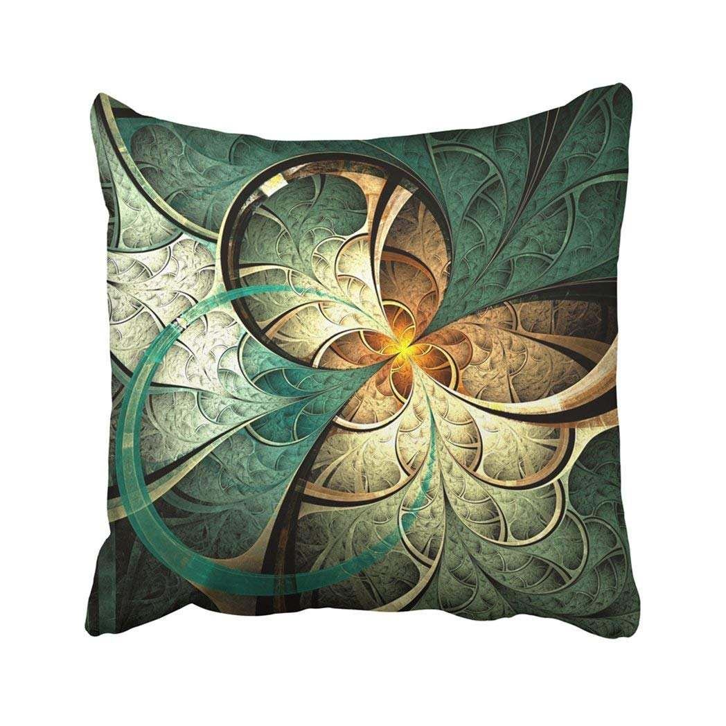 BPBOP Colorful Abstract Dark Yellow Fractal Flower Digital Artwork Graphic Nature Dream Fantasy Pillowcase Throw Pillow Cover Case 18x18 inches