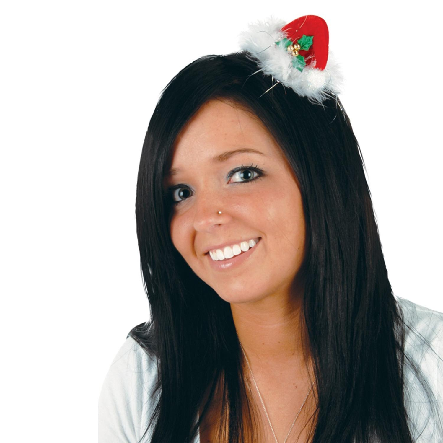 Club Pack of 12 Red, White and Green Santa Hat Hair Clip Christmas Party Favor Costume Accessories