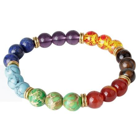Mosunx Colorful Mens Womens 7 Stone Chakra Healing Reiki Prayer Bead Bracelet Good Gift Chakra Healing Stone Bracelet