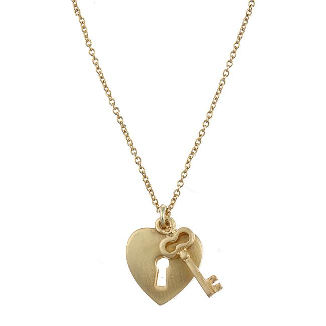Zirconmania 629P-11813G Gold Tone Heart Lock and Key Love Charm Necklace