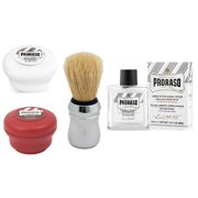 Proraso Shave Soap, Sensitive 150 ml + Proraso Shave Soap, Sandalwood 150 ml + Proraso Professonal Shaving Brush + Proraso Liquid After Shave Cream, 3.4 Ounce + Schick Slim Twin ST for Dry Skin