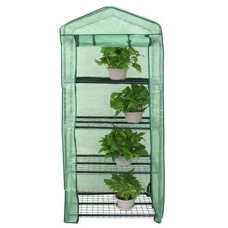 Zeny Anti-UV PE Cover MIni Walk-in Outdoor Indoor Green house - Grow Seeds, Plants, Flowers, Freestanding 4 Tiers Waterproof Gardening