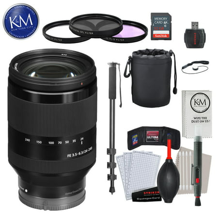 Sony FE 24-240mm f/3.5-6.3 OSS Lens with Advance Striker Bundle: Includes – SD Card Reader, 3pc Filter Set, Cleaning Kit, Large Monopod, and Lens Pouch.